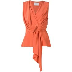Jason Wu Draped Top (79.370 RUB) ❤ liked on Polyvore featuring tops, jason wu, silk top, v-neck tops, drapey top and orange top