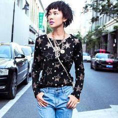 Buy 'Othermix – Sheer Star-Print Long-Sleeved T-Shirt' with Free International Shipping at YesStyle.com. Browse and shop for thousands of Asian fashion items from China and more!