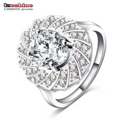 LZESHINE Big Rings Silver Color Inlay Cubic Zirconia Sumptuous Feast Rings for Women Dressing Jewelry CRI0239-B