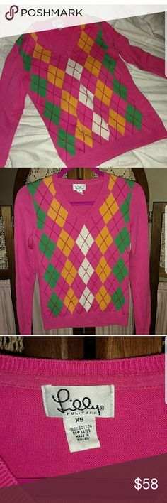 Lilly Pulitzer argyle sweater EUC vintage white tag Lilly Pulitzer Sweaters V-Necks