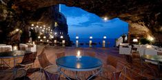 View of the Adriatic Sea from the Cave restaurant under the Grotta Palazzese hotel in Polignano a Mare, Italy.