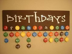 Birthdays - will fit perfectly with my dots theme! I think I will do pictures in dots rather than names to hang down though
