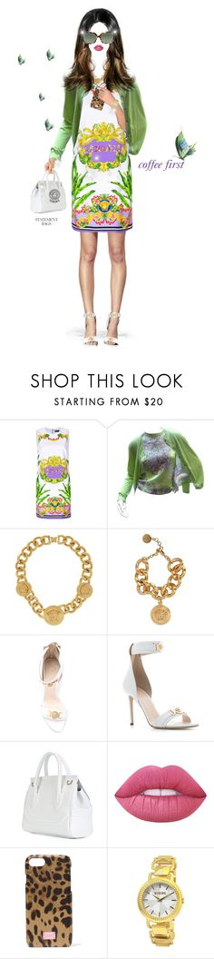 """Gotta get going."" by shellygregory ❤ liked on Polyvore featuring Versace, Lime Crime, Dolce&Gabbana and Ralph Lauren"