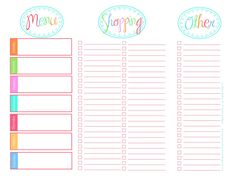 118 best Meal Planning/ Grocery List Printables images on Pinterest ...