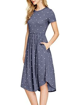 Simier-Fariry-Women-Summer-Pleated-Polka-Dot-Pocket-Loose-Swing-Casual-Midi-Dress Awesome US Women's Short Bridesmaid Dress Square Chiffon Mother Party Dress Comfy Dresses, Casual Summer Dresses, Simple Dresses, Simple Dress Casual, Dress Summer, Frack, Dot Dress, Dress Lace, Classy Outfits