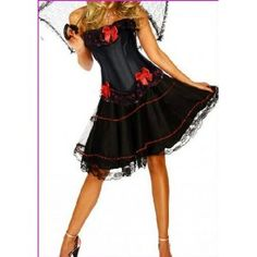 Forever Young Premium Quality Burlesque Moulin Rouge FANCY DRESS Costume Outfit Corset + Knee Length Satin Skirt: Amazon.co.uk: Toys & Games