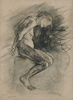 Auguste Rodin (1840-1917), Celle qui fut la Belle Heaulmière [She who was once the helmet maker's beautiful wife], 1889. Charcoal and stumping, 53.3 x 38.6 cm. Musée Rodin, Paris.