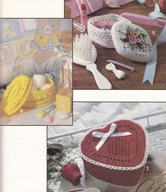 Decorative Boxes Crochet Patterns - 9 Designs - Heart, Oval, and more