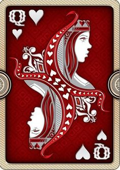Queen of Hearts Playing Cards Unique Playing Cards, Hearts Playing Cards, Playing Cards Art, Vintage Playing Cards, Play Your Cards Right, Pokerface, Joker, Deck Of Cards, Card Deck