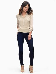 Classic denim styling with all the comfort of leggings  Pull-on jeggings with a…