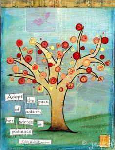 Mixed Media Art: Pace of Nature Tree - 5x7 print, Whimsical Art, Folk Art, Wall Art, Tree art - blue, red, orange, green. $10.00, via Etsy.