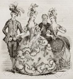 The comte d'Artois, Marie-Antoinette, and the comte and comtesse de Provence in ball costume, French school (NY Public Library) 18th Century Dress, 18th Century Costume, 18th Century Fashion, Mode Rococo, Rococo Dress, Vintage Outfits, Vintage Fashion, Vintage Dress, Rococo Fashion