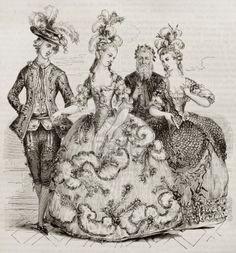 Palla Corte nel 1785: costumi di Marie Antoniette, Conti di Provenza e conte di Artois. Creato da Boquet, conservato in collezione Deveria, pubblicato il Magasin Pittoresque, Parigi, 1843 Archivio Fotografico - 15269989
