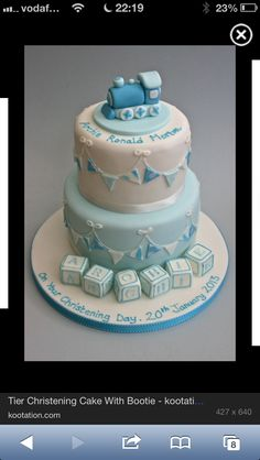 The bottom layer on this as the middle one without the blocks Baby Boy Christening Cake, Baby Boy Cakes, Cakes For Boys, Baby Shower Cakes, Cakes To Make, How To Make Cake, Impossible Cake, Dedication Cake, Cake Cover