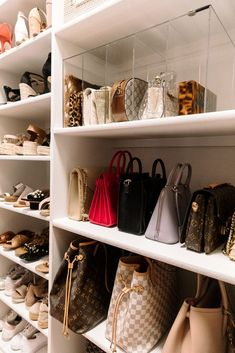 35 Lovely Bags Closet Design Ideas - Unique closet design ideas will definitely help you utilize your closet space appropriately. An ideal closet design is probably the only avenue toward. Bag Closet, Dressing Room Closet, Wardrobe Closet, Closet Space, Closet Storage, Closet Shelves, Shoe Closet, Closet Rooms, Cabinet Storage