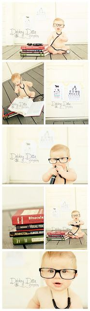 Doctor Baby.  Eye Doctor styled sitter session by Debby Ditta Photography: Baby Doctor optometrist at 6 months in glasses with books. Photography by Tomball , Cypress, Champions, the Woodlands, Magnolia Conroe,  Houston Texas photographer