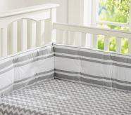 Chevron Stripe crib sheet. Bought.  Love.  My soft grey & white theme coming together.