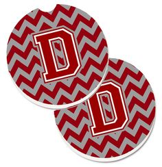 Letter D Chevron Maroon and White Set of 2 Cup Holder Car Coasters CJ1049-DCARC