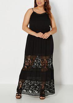 Plus Black Crochet Illusion Maxi Dress | rue21