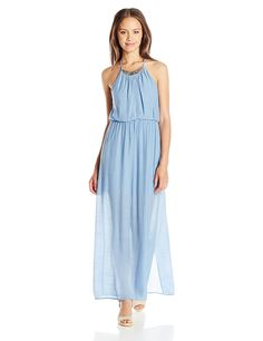 As U Wish Juniors Gauze Necklace Maxi Dress ** To view further, visit now : Dresses for women