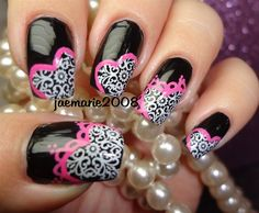 Lacey Hearts-Valentine's Nail Design