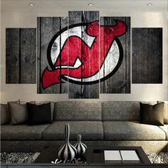 Large Framed New Jersey Devils Hockey Canvas Print Wall Art Home 5 Piece Hockey Sweater, Wall Art Prints, Canvas Prints, New Jersey Devils, Best Savings, Custom Canvas, Barn Wood, Printer, Nhl Players