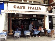 Cafe' Italia  Victoria, London, outside Victoria Palace Theater