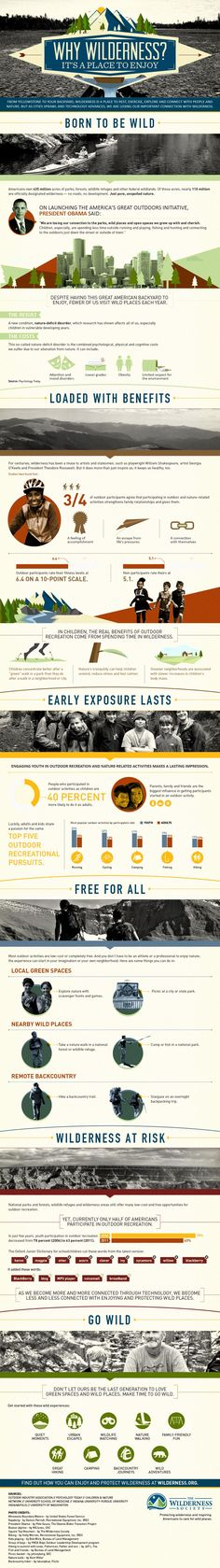 As this recent infographic published by The Wilderness Society shows, a child who spends time explor Wilderness Society, Hiking Tips, Backpacking Tips, Wild Nature, Nature Quotes, Go Outside, Marketing Digital, The Great Outdoors, Kayaking