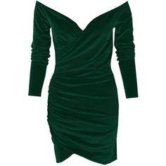 Boohoo Jenna Velvet Off Shoulder Bodycon Dress (68 PEN) ❤ liked on Polyvore featuring dresses, midi cocktail dress, green velvet cocktail dress, maxi dresses, off the shoulder bodycon dress and green bodycon dress