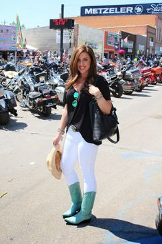 Western-inspired style for a day at the Sturgis Motorcycle Rally.  Details on Torts and a Tiara - a personal style blog.
