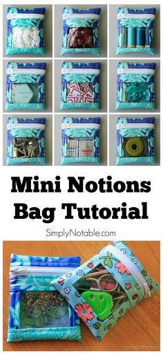 These mini notions bags are perfect for holding my small sewing supplies!