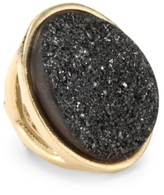 "Marcia Moran ""Mystere"" 18K Gold-Plated Black Druzy Large Oval Ring"