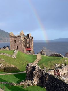Urquhart Castle on Loch Ness in Scotland - We took a boat ride to these hauntingly beautiful castle ruins. I didn't see the Loch Ness monster but I can see how some might imagine it lurking in these murky depths. Outlander, Oh The Places You'll Go, Places To Travel, Places To Visit, Inverness, Loch Ness Scotland, Urquhart Castle, Scotland Travel, Scotland Trip