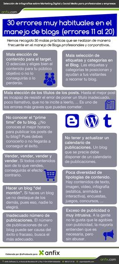 #Infografia #CommunityManager 30 errores en el manejo de blogs (errores 11 al 20) #TAVnews