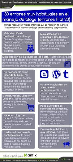 30 errores muy habituales en el manejo de blogs (errores 11 al 20) #infografia #infographic