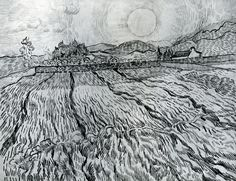 Enclosed Field behind Saint-Paul Hospital Vincent van Gogh Fecha: Saint-rémy-de-provence, France Estilo: Posimpresionismo Género: paisaje Localización: Staatliches Museum Schwerin, Schwerin, Germany Dimensiónes: 62 x 47 cm Landscape Sketch, Landscape Drawings, Landscape Paintings, Landscape Art, Van Gogh Drawings, Van Gogh Paintings, Desenhos Van Gogh, Van Gogh Landscapes, Vincent Willem Van Gogh