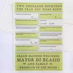 love this!! // 2014, The Year You Were Born Card (NYC)