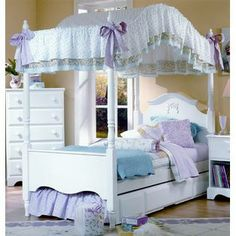 Carolina Furniture Works Carolina Cottage Princess Twin Canopy Bed in White Finish (Trundle: 75 L x 38.25 W x 10.76 H (60 lbs.)) at Sears.co...