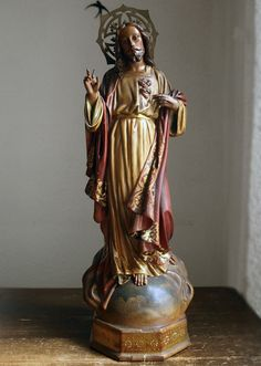Etsy のSacred Heart of Jesus Statue Glass Eyes Spain Catalonia Religious Art Antique 1930s /492(ショップ名:GliciniaANTIC)
