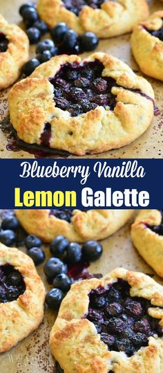 Delicious flavorful and super simple blueberry galette. This Blueberry Vanilla Lemon Galette is like a lazy pie perfect dessert for a warm weekday night. Lemon Dessert Recipes, Tart Recipes, Fun Desserts, Sweet Recipes, Delicious Desserts, Cooking Recipes, Breakfast Recipes, Gallette Recipe, Blueberry Galette