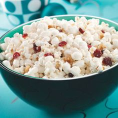 white chocolate covered popcorn! This is SO good either with or without the cranberries/walnuts.