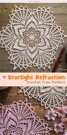 crochet doilies Starlight Refraction Crochet Free Pattern is a great project to DIY lovely and stylish doily. You can use it with cups, dishes or other tabletop items. Free Crochet Doily Patterns, Crochet Circles, Crochet Motif, Free Pattern, Knit Crochet, Crochet Tablecloth Pattern, Mandala Crochet, Crochet Coaster, Tatting Patterns