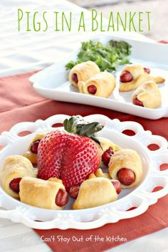 Pigs in a blanket. I made these for morning refreshments at church and they all disappeared! Easy & yummy. :)