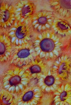 SUNFLOWERS FIELD - oil painting by Emilia Milcheva