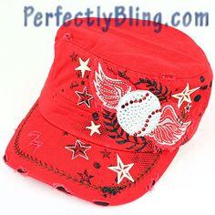 Winged Baseball Bling Sport Cap - RED