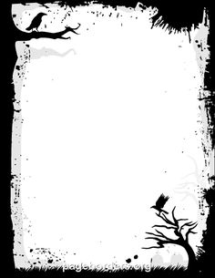 Printable creepy border with bird and tree silhouettes. Great for Halloween! Use the border in Microsoft Word or other programs for creating flyers, invitations, and other printables. Free GIF, JPG, PDF, and PNG downloads at  http://pageborders.org/download/creepy-border/