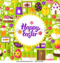 Flat Happy Easter Postcard. Vector Illustration Spring Holiday Poster.