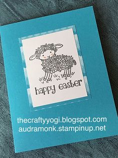 sweet and simple handmade Easter card from the crafty yogi one layer ... black and white with blues ... lamb ... lu the printed paper in the wide mat ... Stampin' Up!