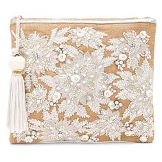 Star Mela Mansi Embroidered Clutch ($150) ❤ liked on Polyvore featuring bags, handbags, clutches, white purse, tassel clutches, hand bags, white hand bags and white handbags