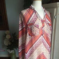 Bundle & Save20%Elegant blouse Elegant looking blouse gorgeous with white pants. Set in peach and cream tones. Preloved and amazing! Blouse says XL I say it fits like a large. Fun white beads perfect for spring and summer. Bundled together to save you money!! Charlotte Russe Tops Blouses